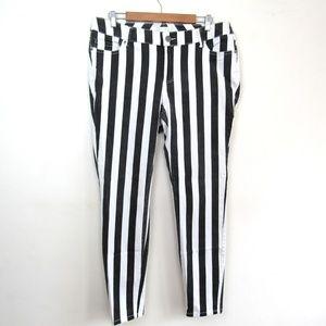 Forever 21+ black & white striped skinny jeans